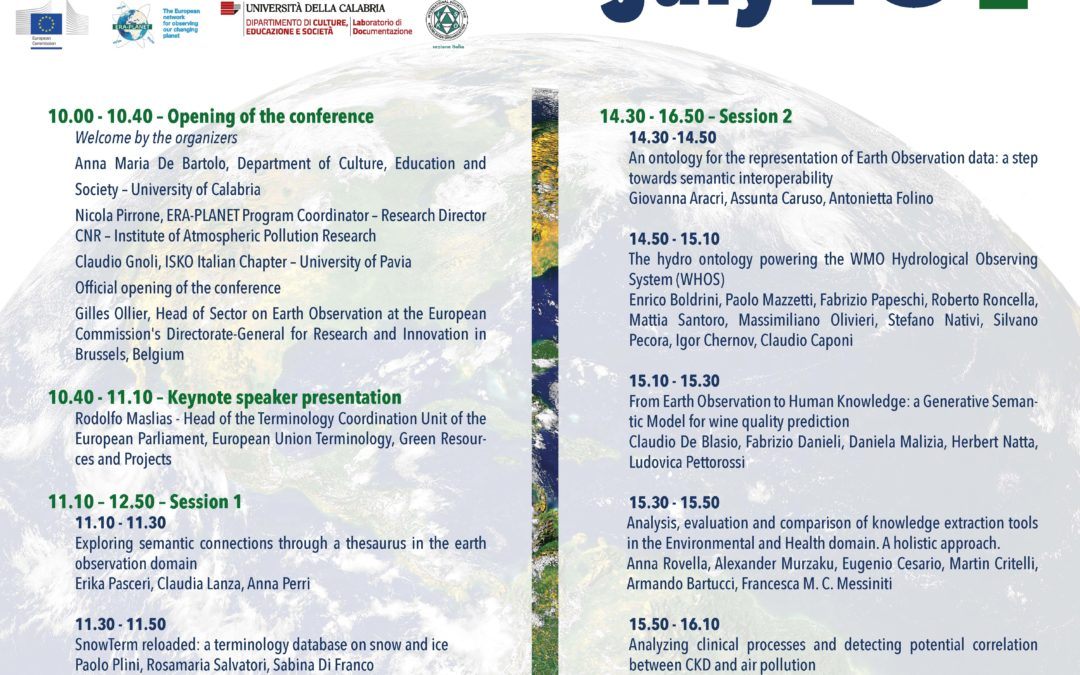 July 15 – ERA-PLANET conference at UNICAL (Italy)